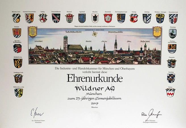 IHK Ehrenurkunde Wildner AG München 25 Jahre Firmenjubiläum